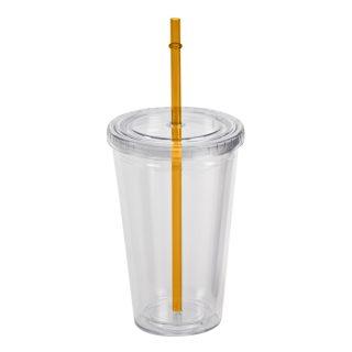 כוס לשתייה קרה בעלת דופן כפולה וקשית צבעונית - סולו